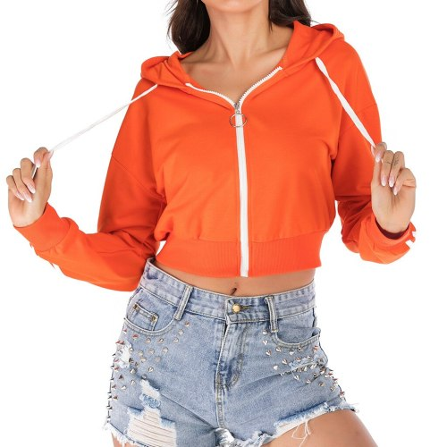 Orange Patchwork Sports Short Sweatshirt Fashion Women Long Sleeve Zipper Hoodies Drawstring Loose Overall Pullover Tops #Y3