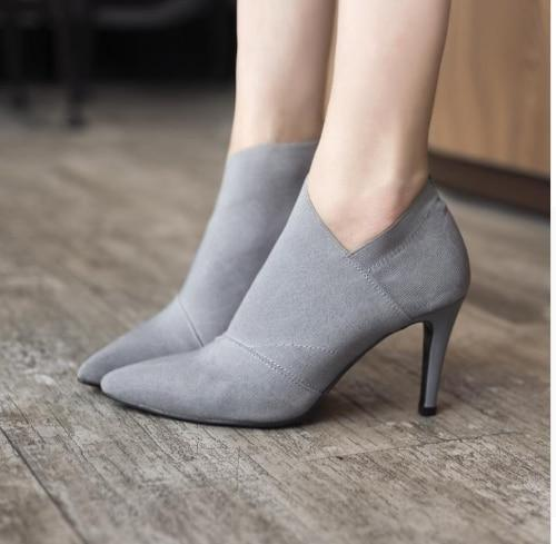 Hot Sale Pointed Toe High Heels Women Basic Shoes Autumn And Winter Casual Fitted Female Singe Fashion Outwear Shoes 6960