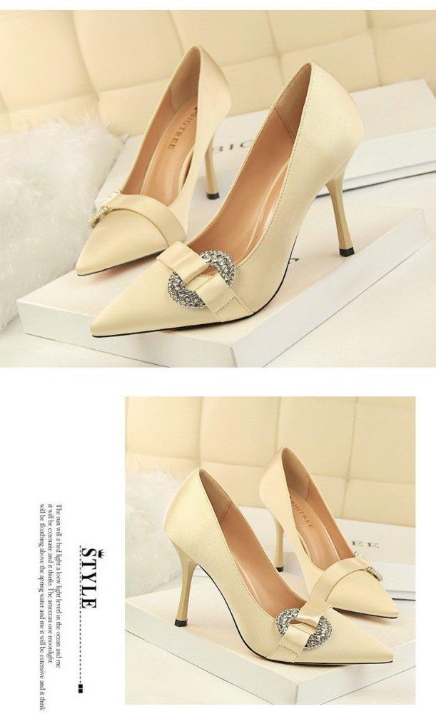 European Style Women's Shoes High Heels Stiletto Silk Shallow Mouth Pointed Sexy Banquet Rhinestone Buckle Women Pumps G0079