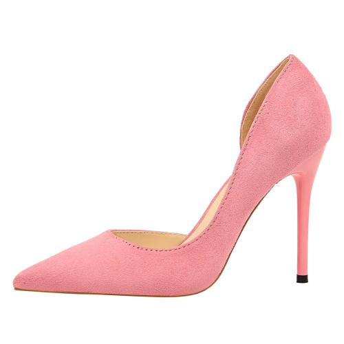 Women Pointed Toe High Heels Slip On Stiletto 10 CM Wedding Party Dress Pumps Shoes Sexy Side Empty Solid Color Shoes G0078