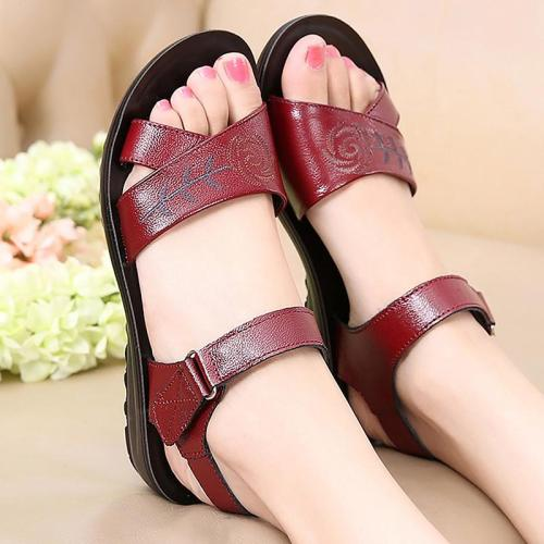 genuine leather appliques women's shoes plus size 4.5-9 women sweet sandals buckle strap superstar shoes wedge with sandal