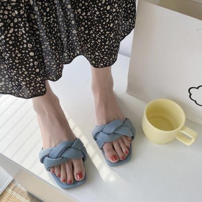 Women Summer Casual Slippers Ladies Elegant Square Toe Shoes Woman Slides Flat Beach Shoes Women's Comfortable 2020