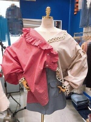 2020 Korean Spring and Summer Elegant Women Shirts Color Patchwork Shirt Cotton Casual Shirts  Ruffles Patchwork V-Neck blusas