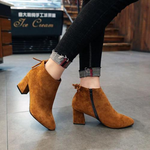 Plus size 35-43 Winter Boots High Heels Flock Ankle Boots Women Shoes chunky Heels botas mujer Zip botines chaussures femme 7647