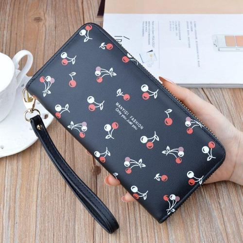 New Wallets Female Fashion Korean Soft Leather Long Zipper Purse Large Capacity Printed Wallet Card Holder With Phone Bag.