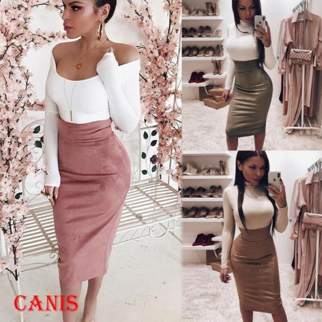 Women Stretch High Waist Plain Long Skirt Midi Skirt Evening Party Club Wear Solid Color Fashion Pencil Skirts
