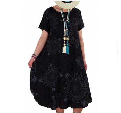 Women Summer Dress 2020 Printing Dot Dress Midi Plus Size Casual Loose Short Sleeve Irregular Long Knee-Length Dress