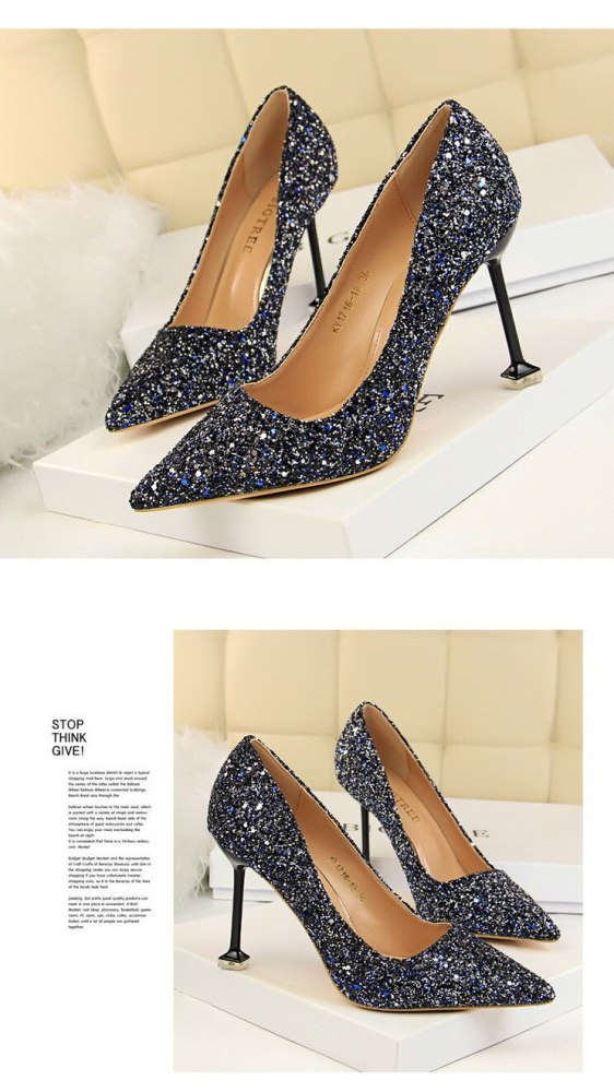 Luxury Brand Fashion Design Elegant Party Wedding Bling Women Pumps Lady Female New Pointed High Heels Shoes Plus Size G0017