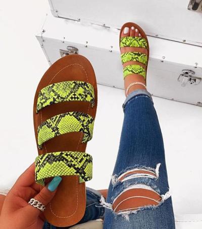 2020 New Summer Women Sandals Designers Open Toe Flat Heel Sandals Slip on Leopard Sandalias Mujer Size 37-42
