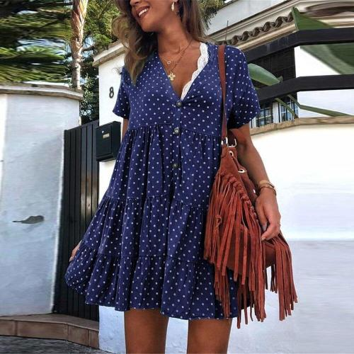 Polka Dot Women Dress Summer V Neck Bohohemian Pleated Dress Fashion Beach Sundress Ladies Short Sleeve Mini Dress Vestidos D30