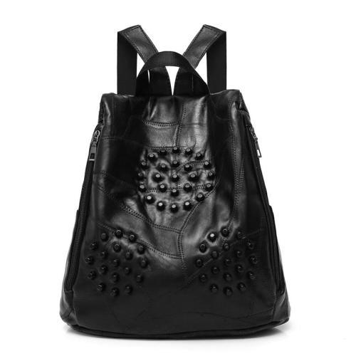 2020 Black Soft Leather Backpacks For Girls Sac a Dos Vintage Rivet Backpack Women Designer High Quality Ladies Bagpack Preppy