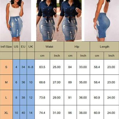 Women Stretch Bodycon Hollow Out Fashion Casual Pencil Skirt Knee-Length Denim Skirt High Waisted Skirts