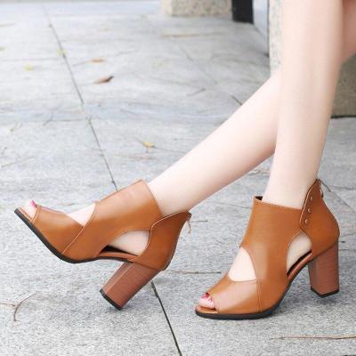 Plus Size 34-42 Gladiator Sandals Women Peep Toe High Heels sandalias mujer Platform Sandal Ankle Boots Black Sexy Shoes 7527