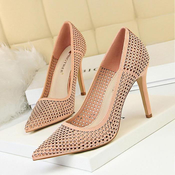 2019 Fashion Women Sexy Concise High Heels Pumps Hellow Sexy Stiletto Bride Wedding Ladies Office Shoes G0124