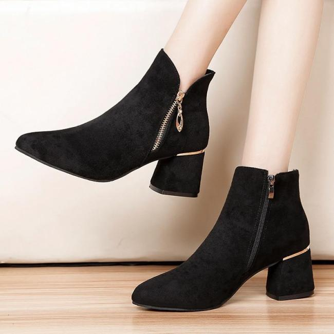 2020 Winter Women Ankle Boots Black Faux Suede Snow Shoes Chunky Heels Boots Side Zipper Gold Heels botas mujer 7746