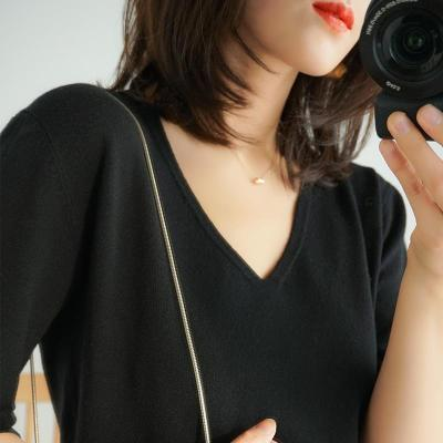 womens  shirt tops halfsleeves knitting shirts v-neck soft warm basicshirt short fashion pullover solid casual thin Tees
