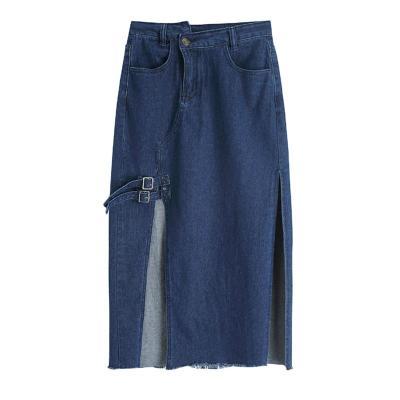 Split Wrap Skirts Plus Size Blue Long Denim Skirts Women Button Pockets Jeans Skirts Summer Korean Vintage Sexy Long Maxi Skirt