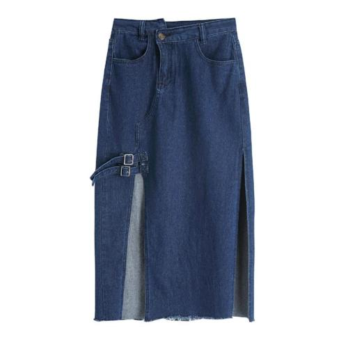 Split Wrap Skirts Plus Size Blue Long Denim Skirts Women Button Pockets Jeans Skirts Summer Korean Vintage Sexy Long Maxi Skirt