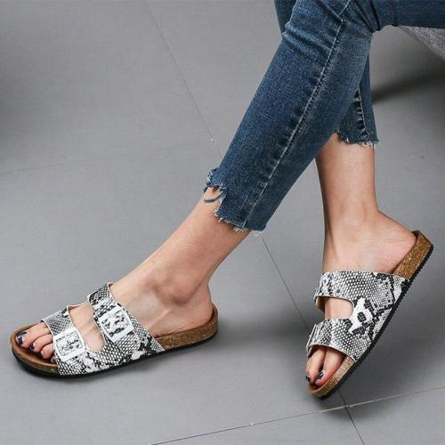 Women Summer Snake Pattern Buckle Slipper Ladies Flowers PU Leather Sandals  Female Light Comfortable Casual Flat Woman Shoes