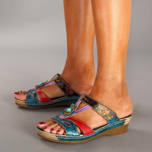 Summer Sandals for Women Shoes Flats Mixed Color Retro Platform Sandals Shoes Slip on Slides Women Footwear Wedges Rome Open PU