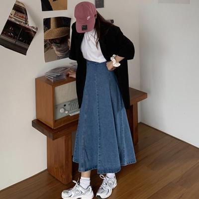 Denim Jeans Long Maxi Skirts Women High Waist Vintage Blue Denim Skirts Button Harajuku A-Line Thick Korean Skirts Loose W921
