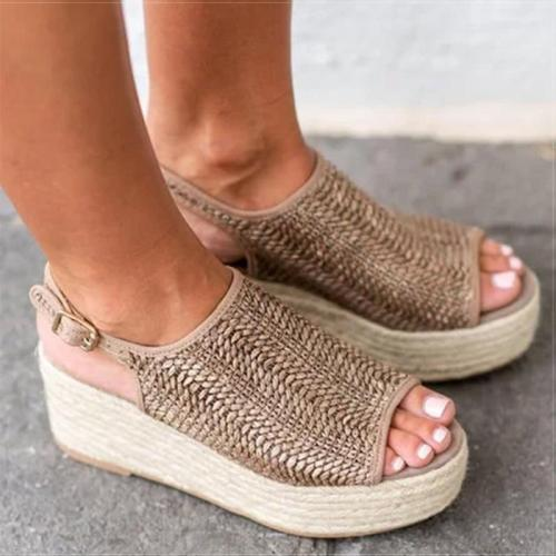 Women Sandals Retro Platform Sandals With 6CM High Heels Wedges Shoes For Women Plus Size 43 Hemp Summer Sandals Zapatos Mujer