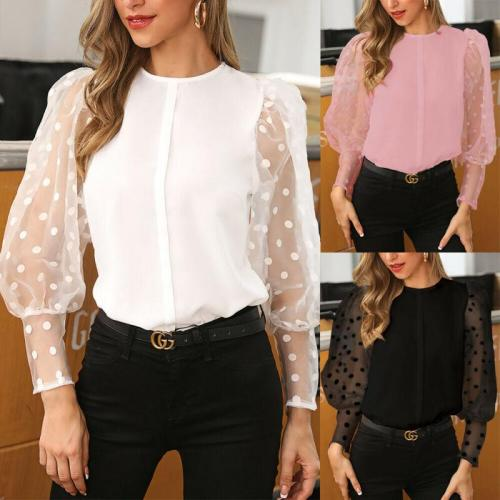 Vintage Blouse See-through Sleeve Sexy Polka Dot Print Blouse O Neck Lady Office Shirt Tunic Casual Loose Tops Plus Size Blusas