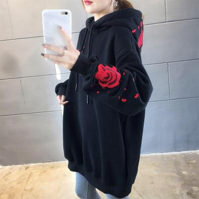 New ladies sweatshirt plus velvet thick letter rose student loose embroidery fairy crane pullover sweatshirt casual student girl