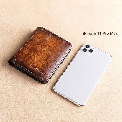 New Genuine Leather Rfid Wallets for Men Vintage Thin Short Multi Function ID Credit Card Holder Money Bag