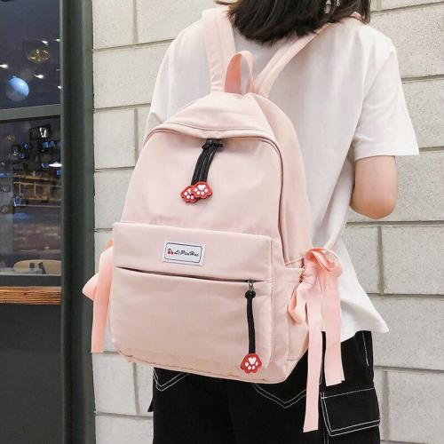 Student Cat claw Backpack Women Cute School Bags Girls nylon pink Kawaii Backpacks Bow Ribbon waterproof Teenage Female Book Bag