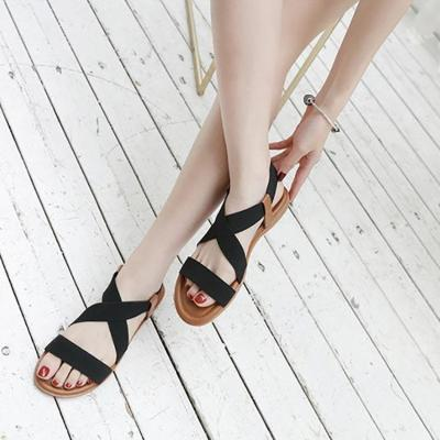 Women sandals 2020 new casual elastic flat sandals women color matching outdoor shoes woman comfortable shoes woman plus size