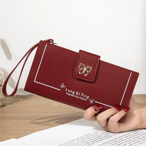 New Ladies Pu Leather Wallet Ladies Long Wallet Money Bag Phone Pocket Ladies Butterfly Buckle Wallet Card Holder Clutch