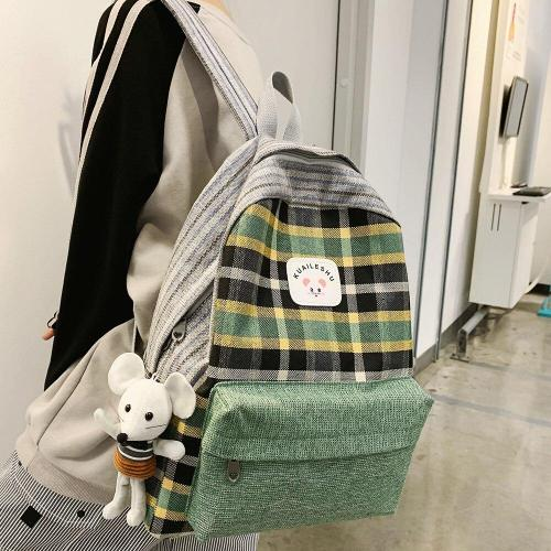Student Female Cute Backpack Linen Women Fashion School Bag Harajuku Girl Kawaii Backpack Striped Lattice Lady Bags Doll pendant