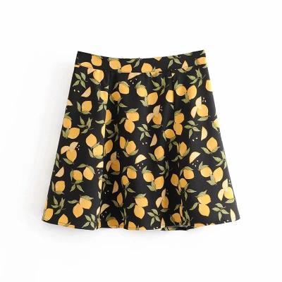Foridol vintage high waist skirt women 2020 summer casual mini beach skirt retro black skirt female A-line skirt streetwear