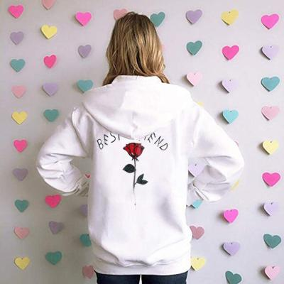 Back Rose Embroidery Long Sleeve Hoodie Couple Hooded Drawstring Pocket Sweatshirt Autumn Winter Warm Pullover Tops Bluzy Dla#Y3