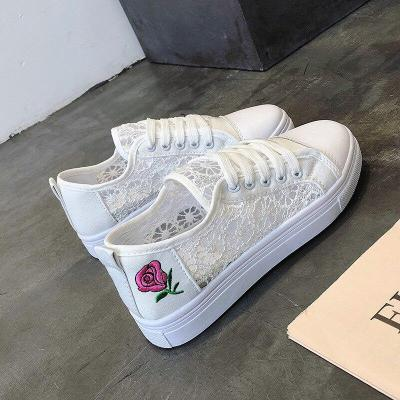 New Fashion Shoes Women's Vulcanize Mesh Shoes Autumn New Casual Classic Solid Color Pu Leather Shoes Women Flowers Sneakers