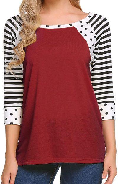 Zeagoo Women's Polka Dots Shirt Striped 3/4 Sleeve Casual Scoop Neck Tops Tee S-XXXL