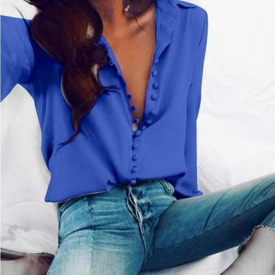 CROPKOP Fashion Casual Solid Color ladies office Tops Sexy Buttons Long sleeve Blouse 2020 new Spring Women Chiffon white Shirt