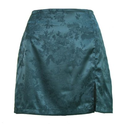 Women Sexy Mini Skirt Womens Sexy Party Floral Print Zipper Slim High Waist Satin Split Mini Skirt Faldas Mujer Moda 2020 #YJ