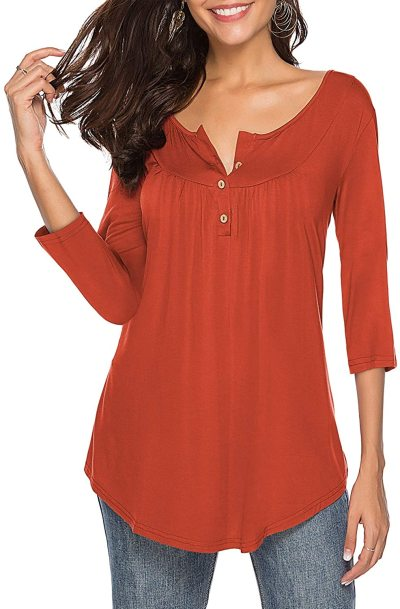 Womens Shirts Casual Tee V Neck 3/4 Sleeve Button up Loose Fits Tunic Tops Blouses