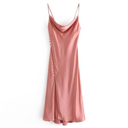 AGong Braces Dresses Women Fashion Sexy Silk Satin Textured Lingerie Dress Women Elegant Sleeveless Dresses Female Ladies IK