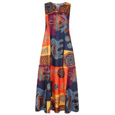Women Summer Dress Plus Size Print Daily Casual Sleeveless Vintage Bohemian V Neck Maxi Dress Female Fashion Vestidos M40#