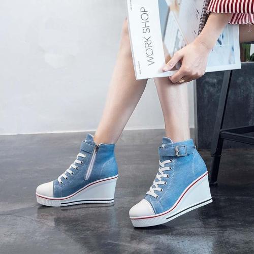 Canvas Shoes Women Wedges Platform Sneakers 8cm Heels Sports Shoes Lace Up Solid Color Casual Side Zipper Shoes 43 Zstm57
