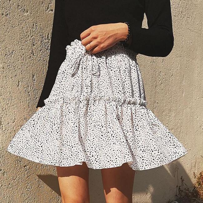 Leopard print ruffle mini skirts womens 2020 summer beach holiday chiffon high waist green skirt lace up elastic skirt plus size