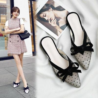 Women's Summer Pointed Toe Lace Slippers Ladies Slip On Butterfly Knot Casual Shoes Woman Polka Dot Light Comfort Female Slipper