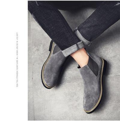 UPUPER Cow Sude Chelsea Boots Men Shoes British Style High-Top Fashion Men Winter Boots With Plush Men Ankle Boots 2019