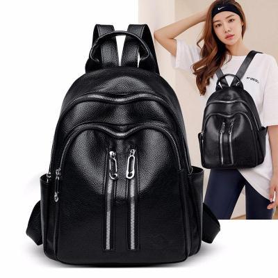 Women Black Leather Backpacks High Quality Mochila Ladies Bagpack Preppy Travel Famous Brand  Luxury Designer Ladies Back Pack