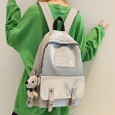 Student Female Cute Backpack Women Fashion School Bag Harajuku Girl Waterproof Nylon Kawaii Backpack Doll pendant Ladies Bag New