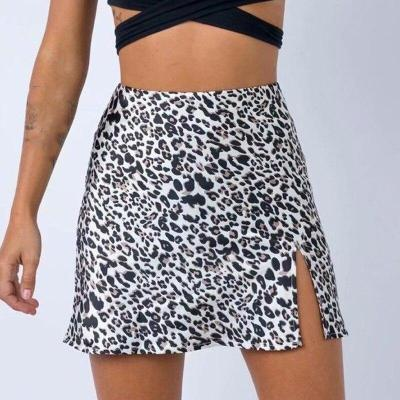 Foridol sexy leopard print slit skirt women high waist club party bodycon skirts bottoms animal print black A-line skirt 2020