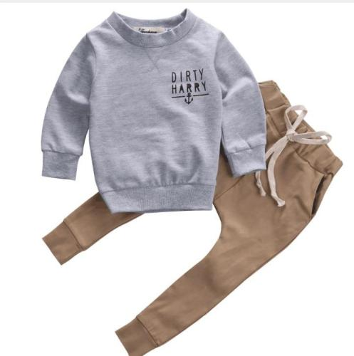 2020 Trend Style Newborn Kids Baby Clothing Sets  Scallywag Crew  Grey Cotton Tops+ Khaki Pants Baby Casual Clothes Outfits